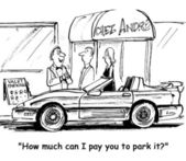Cartoon illustration. How much can i pay you to park it — Foto de Stock