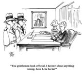 Cartoon illustration. You gentlemen look official. I have not done anything wrong, have i — Stock Photo