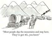 Cartoon illustration. Most people skip the mountains and stay here — Stock Photo