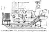 Cartoon illustration. Psychic surfing — Stock Photo