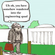Cartoon illustration. Engineering quad — Stock Photo