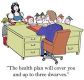 Cartoon illustration. Snow White is concerned about health coverage for the dwarves — Stock Photo