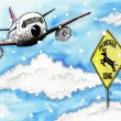 Stock Photo: Cartoon illustration. Aircraft and road sign