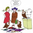 Cartoon illustration. Two women and  birds in the shop — Stock fotografie