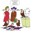Cartoon illustration. Two women and  birds in the shop — Stockfoto