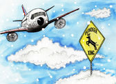 Cartoon illustration. Aircraft and road sign — Stock Photo