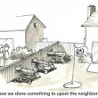 Stock Photo: Cartoon illustration Upset neighbors