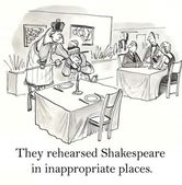People rehearsed Shakespeare in inappropriate places. — Stock Photo