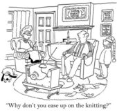 "Man say to woman ""Why don't you ease up on the knitting?"" — Stock Photo"