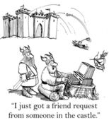 A Viking is surprised by a friend request — Stock Photo