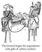 The General began the negotiations with gifts of saltine crackers. — Stock Photo