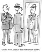 Cartoon illustration. Man in the dressing room. The hat is fine — Stock Photo