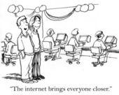 Cartoon illustration. Сouple in a computer club — Stock Photo