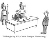 Man didn't get her Hail Caesar — 图库照片