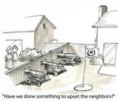 Cartoon illustration Upset neighbors — Stock Photo