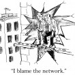Cartoon illustration - blame network — Stock Photo