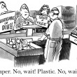 Cartoon illustration - Paper or plastic — Stock Photo