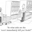 In what aisle are the won't kill you foods — Foto de Stock
