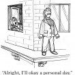 Cartoon illustration - boss will okay personal day — Stock Photo