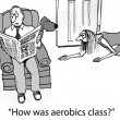 How was aerobics class for exhausted wife — Stockfoto
