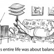 Stock Photo: Cartoon illustration - Balanced life