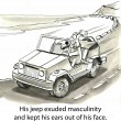 Stock Photo: Cartoon illustration - Masculine jeep