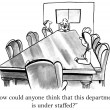 Cartoon illustration - department is under staffed — Stock Photo