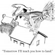 Cartoon illustration - Teach landing — Photo