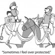 Foto Stock: Cartoon illustration - Sheltered knight