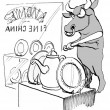 Cartoon illustration - bull enters china shop — Stock Photo