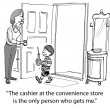 Cartoon illustration - boy after convenience store — Stock Photo