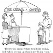 Cartoon illustration. Ice cream stand — Stock Photo