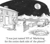 Cartoon illustration - director of marketing — Stock Photo
