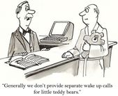 Cartoon illustration - wake up calls for teddy bears — Stock Photo
