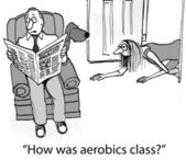 How was aerobics class for exhausted wife — Stok fotoğraf