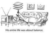 Cartoon illustration - Balanced life — Stock Photo