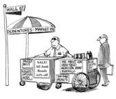 Cartoon illustration - Hot dog stand of stock broker — Stock Photo
