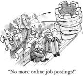 Cartoon illustration - No more online job postings! — Stock Photo
