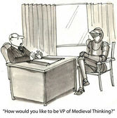 Cartoon illustration - Medieval thinking — Stock Photo