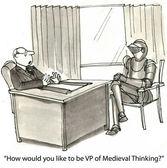 Cartoon illustration - Medieval thinking — Stock Photo