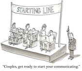 Cartoon illustration - communicating — Stock Photo