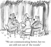 Cartoon illustration - Bears want to communicate better — Stock Photo