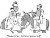 Cartoon illustration - Sheltered knight — Stock Photo