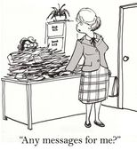 Cartoon illustration - Any messages for me — Stock Photo