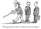 Cartoon illustration - old times has a divining rod — Stock Photo