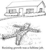 Cartoon illustration - Resisting growth — Stock Photo
