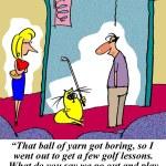Cat plays golf — Stockfoto