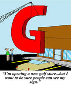 Big sign for golf store — Stock Photo