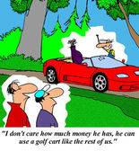 Rich man can use golf cart — Stockfoto