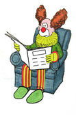 Clown reading newspaper — Stock Photo